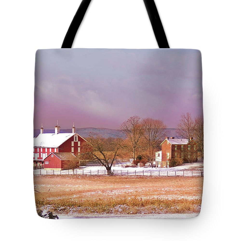Gettysburg Tote Bag featuring the photograph The Codori Farm by Jen Goellnitz