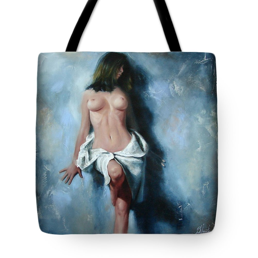 Oil Tote Bag featuring the painting The cold senses by Sergey Ignatenko