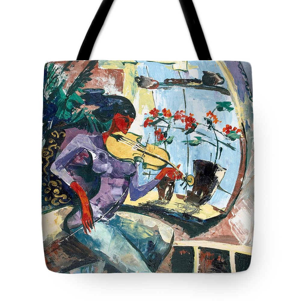 Music Tote Bag featuring the painting The Color Of Music by Elisabeta Hermann