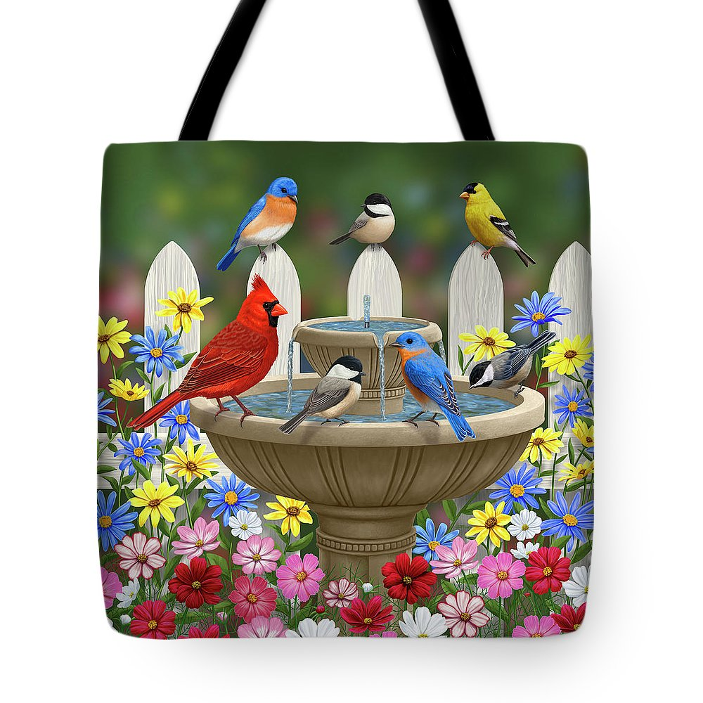 Birds Tote Bag featuring the painting The Colors Of Spring - Bird Fountain In Flower Garden by Crista Forest