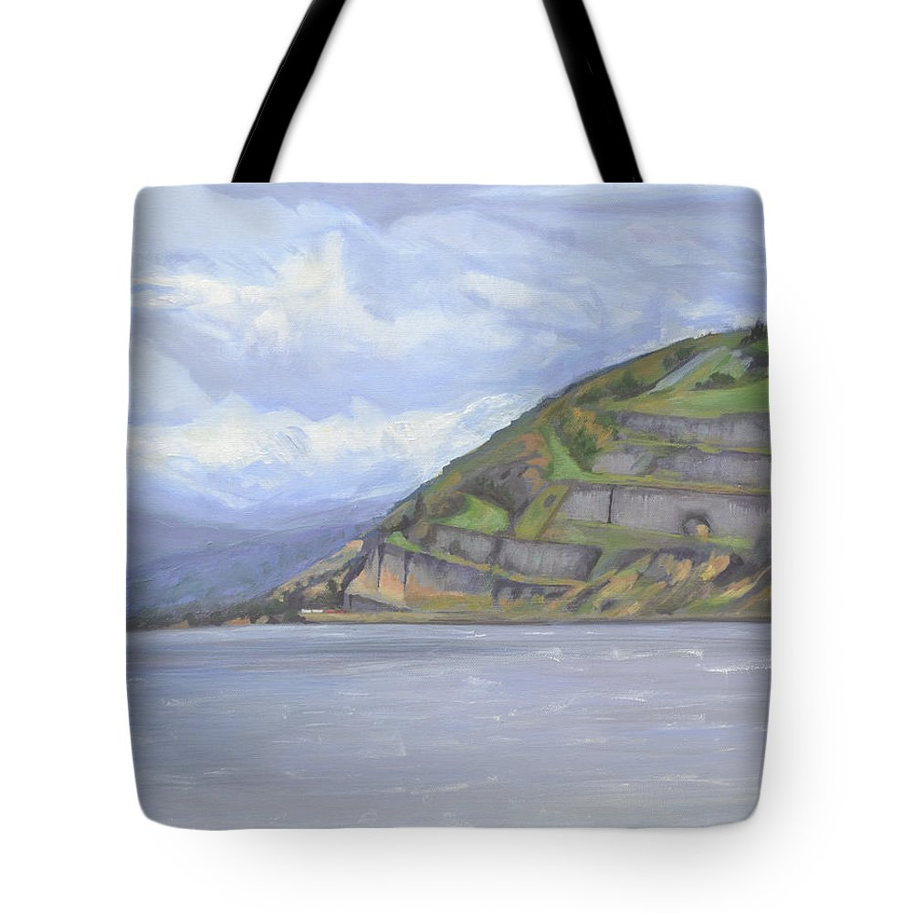 The Columbia River Gorge Tote Bag featuring the painting Heart of the Gorge by Mary Chant