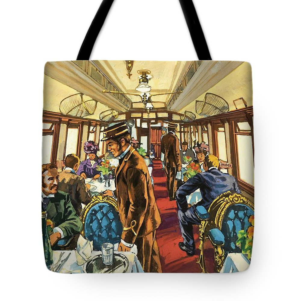 Trains Tote Bag featuring the painting The Comfort Of The Pullman Coach Of A Victorian Passenger Train by Harry Green