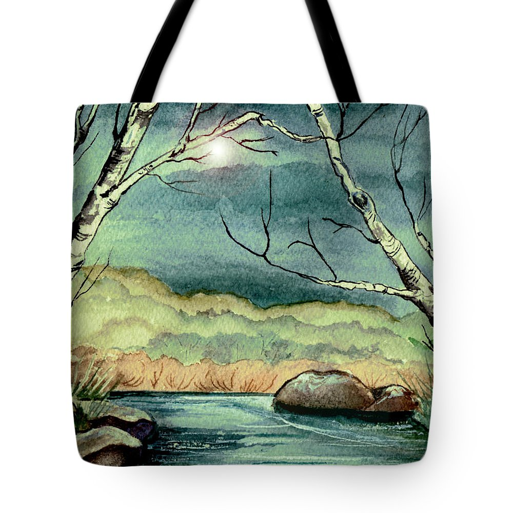 Watercolor Tote Bag featuring the painting The Coming Storm by Brenda Owen