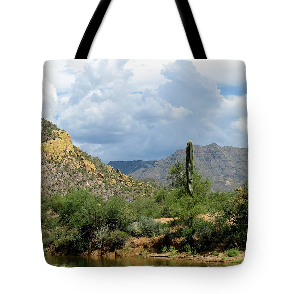 Saguaro Tote Bag featuring the photograph The Coming Storm by Cathy Franklin