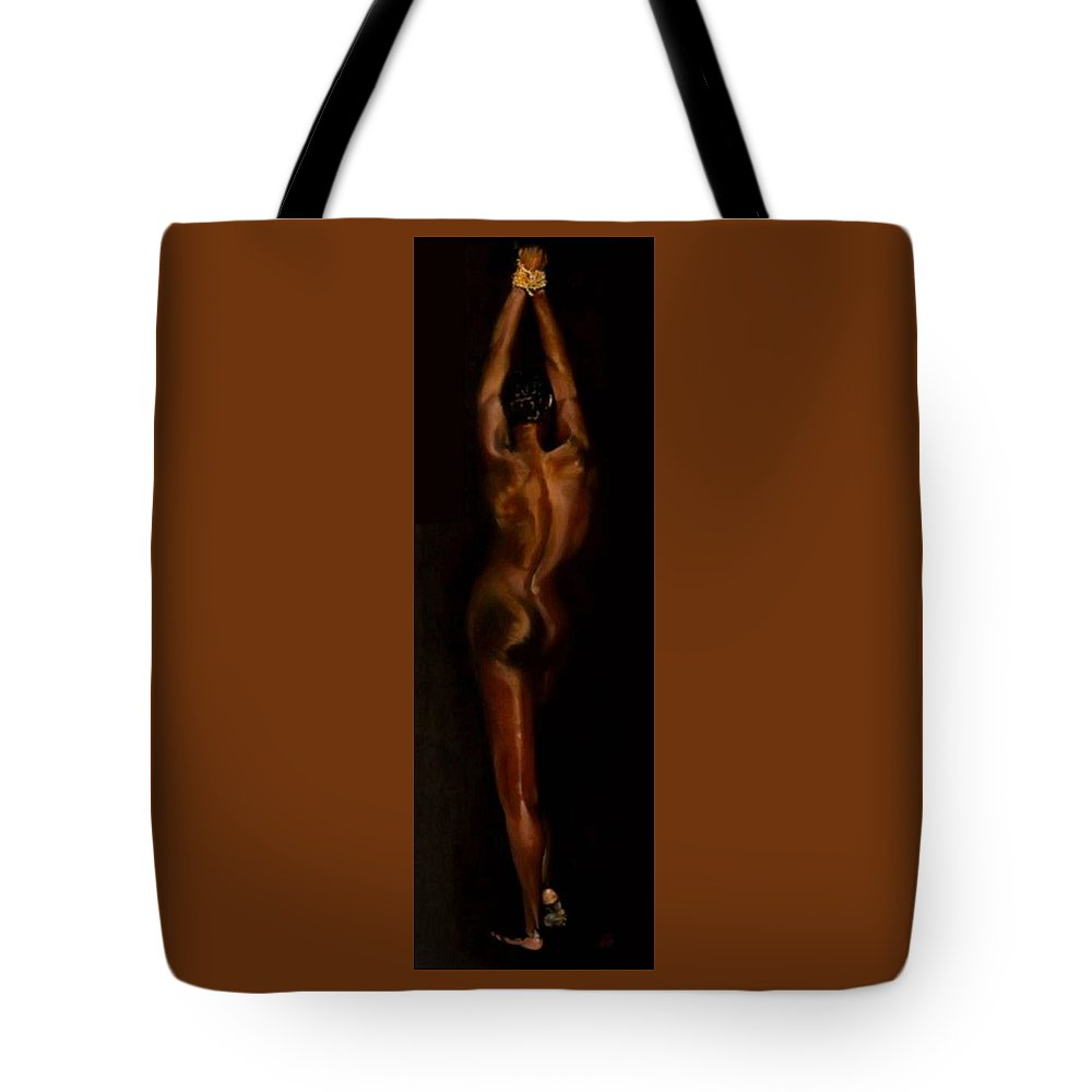 Bondage Tote Bag featuring the painting The Compliant Captive by Jane Simpson