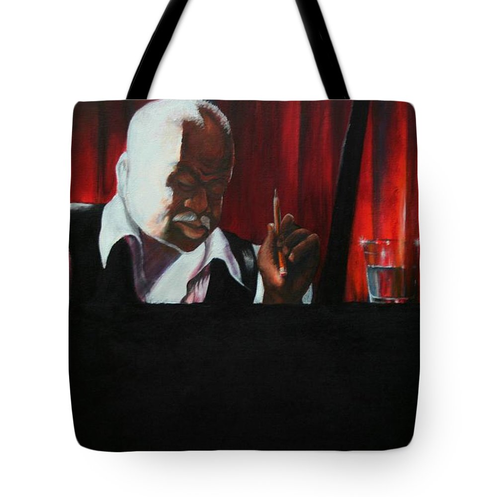 Jazz Musician Tote Bag featuring the painting The Composer by Arthur Covington