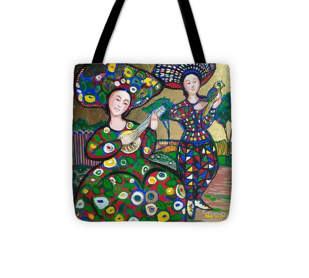 Photo Stream Tote Bag featuring the painting Concert in gold by Marilene Sawaf