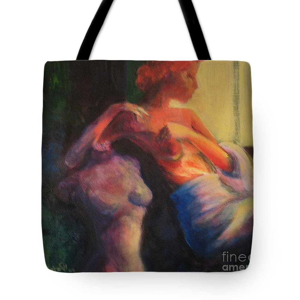 Bright Tote Bag featuring the painting The Confidante by Jason Reinhardt