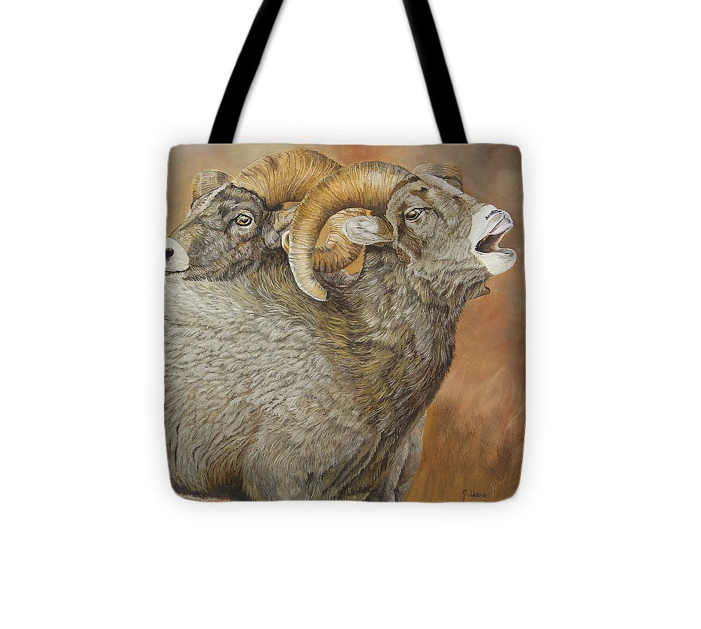 Bighorn Sheep Tote Bag featuring the painting The Conquest - Bighorn Sheep by Johanna Lerwick