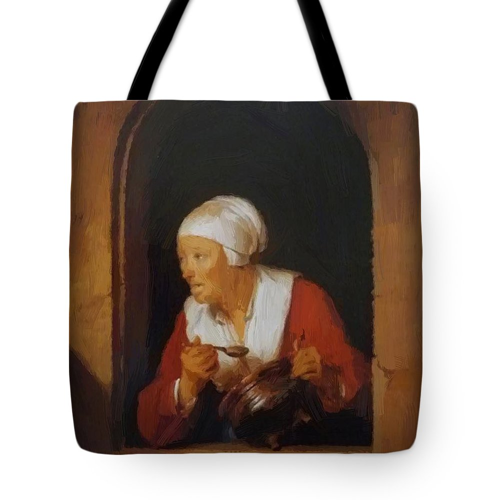 The Tote Bag featuring the painting The Cook 1665 by Dou Gerrit