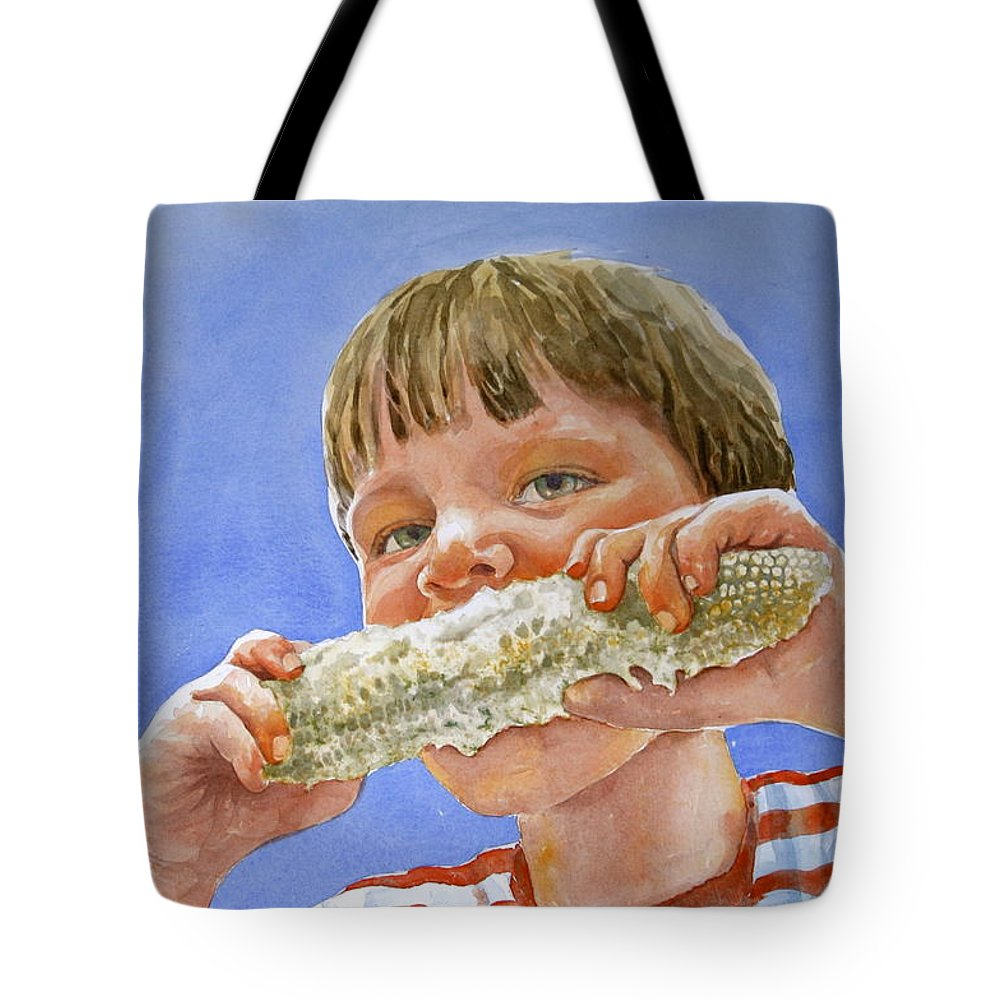 Corn Tote Bag featuring the painting Andrew The Corn Eater by Shirley Sykes Bracken
