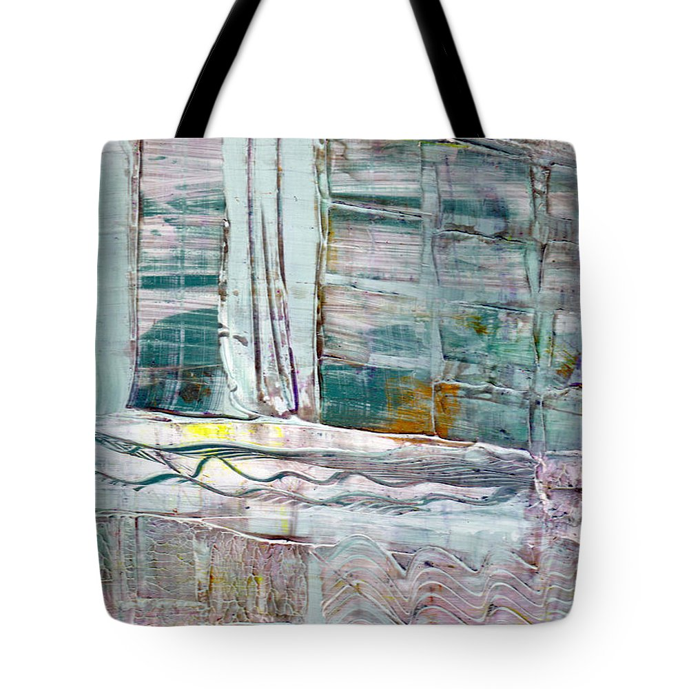 Abstract Tote Bag featuring the painting The Corner Window by Wayne Potrafka