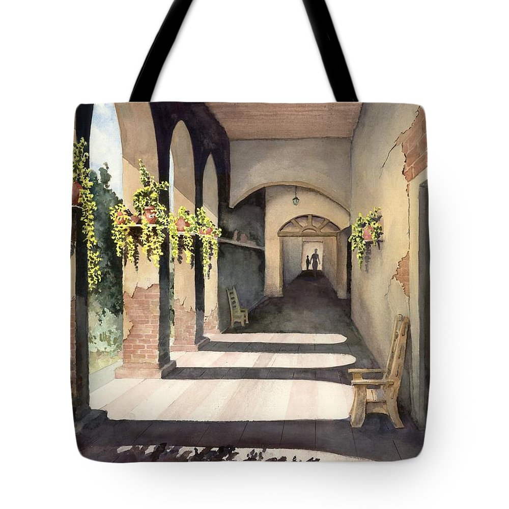 Plants Tote Bag featuring the painting The Corridor 2 by Sam Sidders