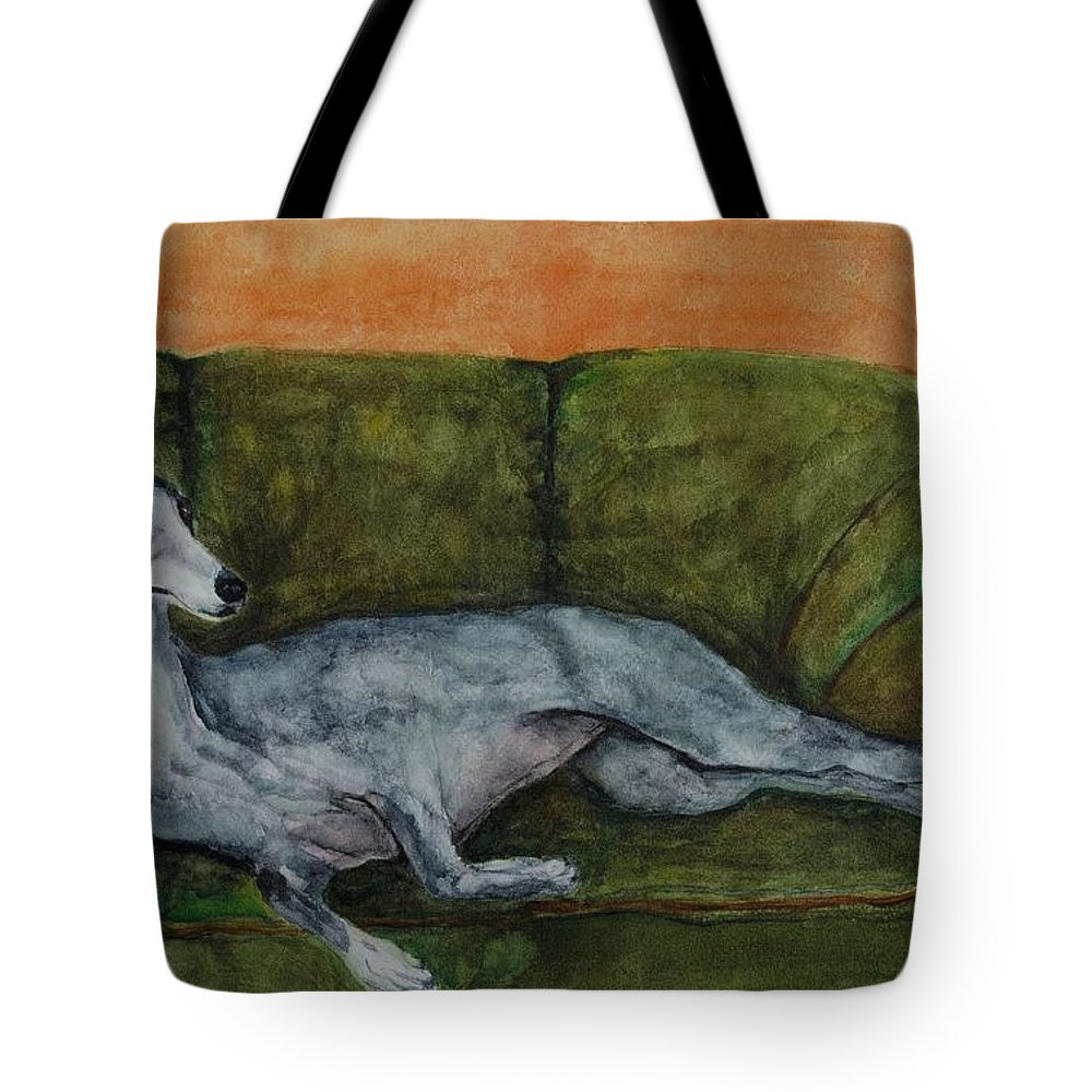 Greyhounds Tote Bag featuring the painting The Couch Potatoe by Frances Marino
