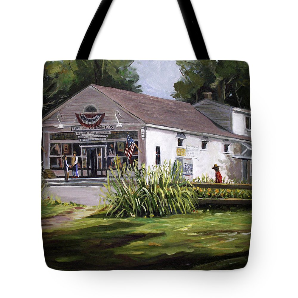 Buildings Tote Bag featuring the painting The Country Store by Nancy Griswold