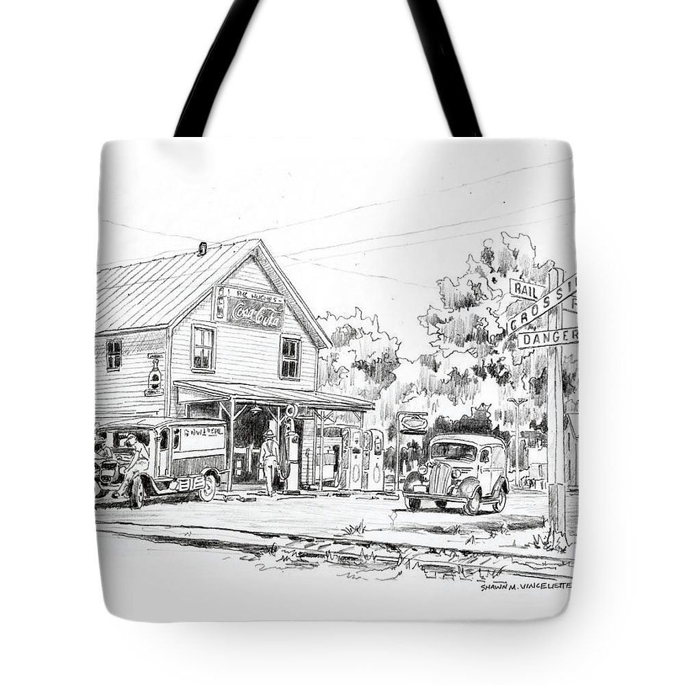 Tote Bag featuring the drawing The County Line Store, 1931 by Shawn Vincelette