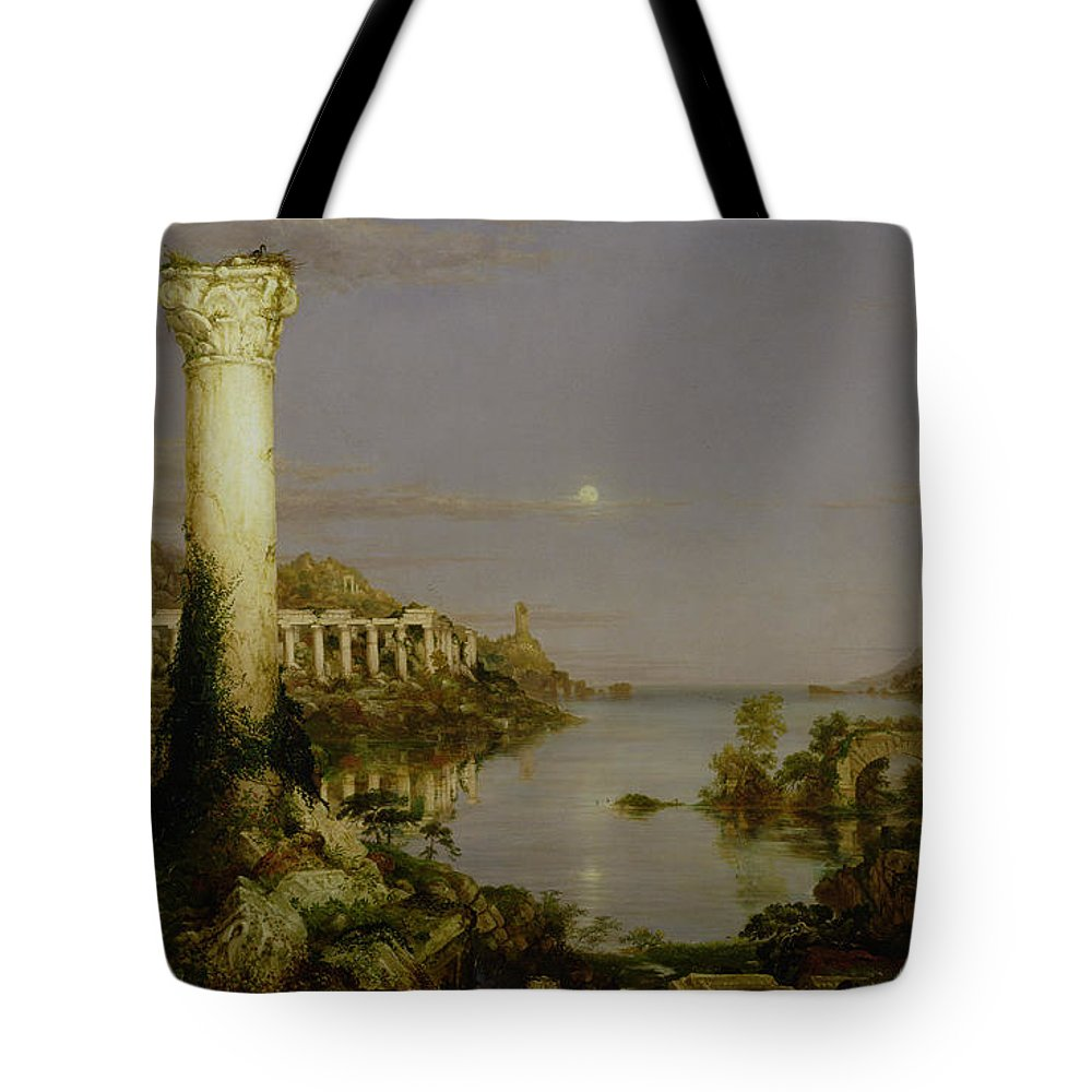 Moonlit Landscape; Classical; Architecture; Ruin; Ruins; Desolate; Bridge; Column; Hudson River School; Moon Tote Bag featuring the painting The Course Of Empire - Desolation by Thomas Cole