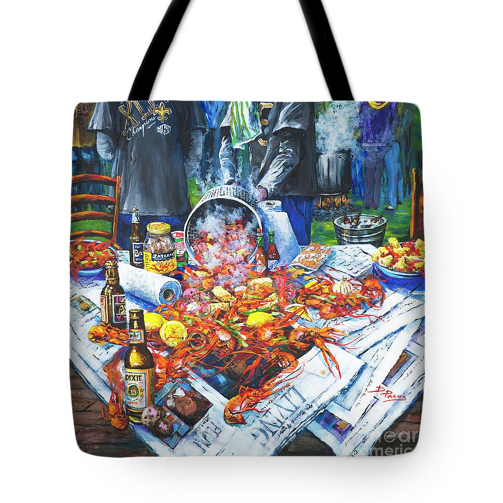 New Orleans Art Tote Bag featuring the painting The Crawfish Boil by Dianne Parks