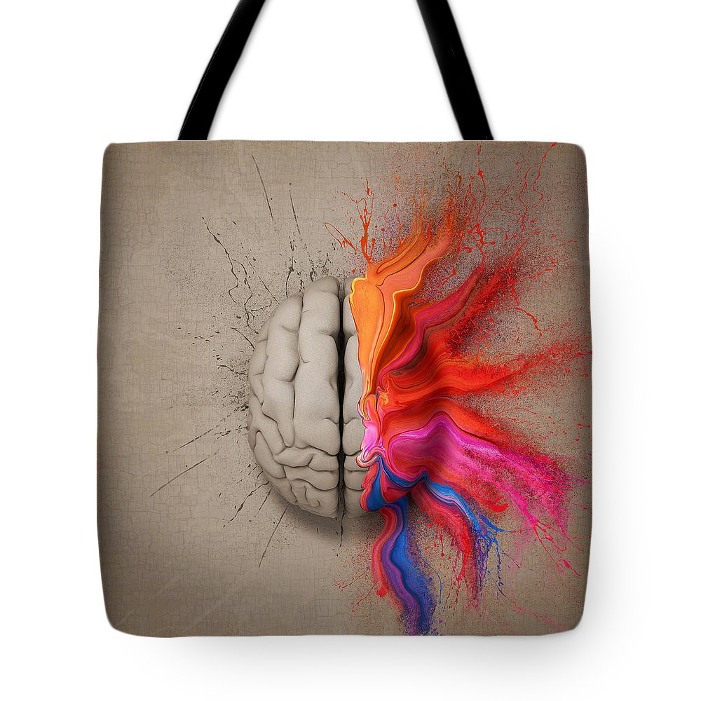 Brain Tote Bag featuring the digital art The Creative Brain by Johan Swanepoel