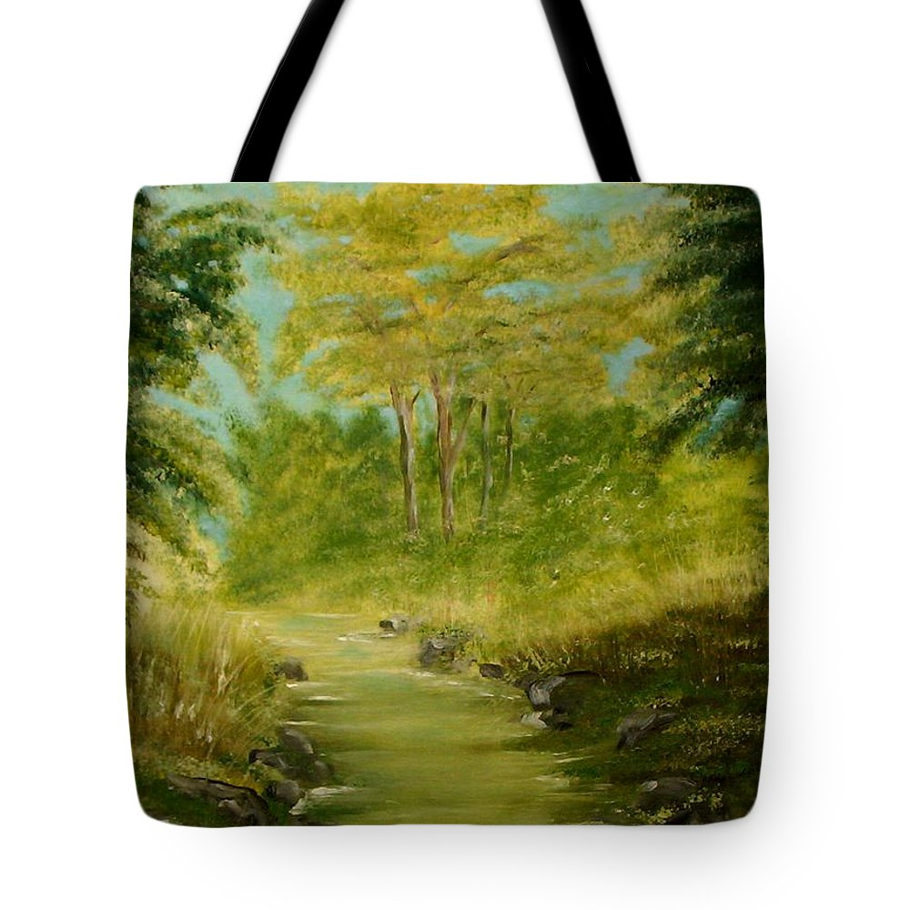 Water River Creek Nature Trees Landscape Tote Bag featuring the painting The Creek by Veronica Jackson