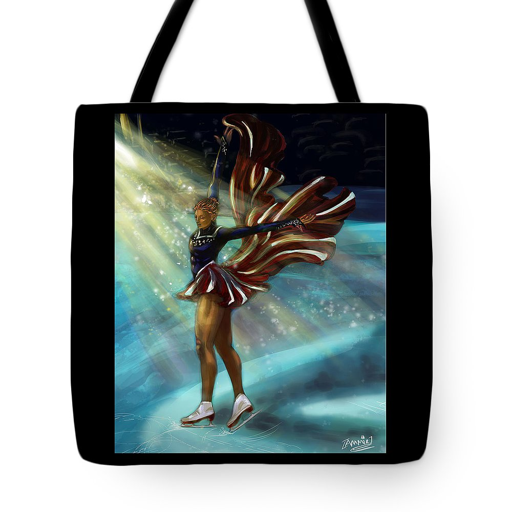 Ice Skating Tote Bag featuring the digital art The Crescendo by Jemima Omalay