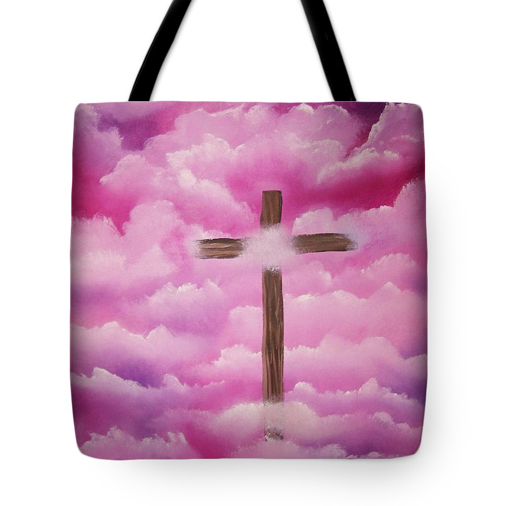 Cross Artwork Tote Bag featuring the painting The Cross Of Redemption by Laurie Kidd