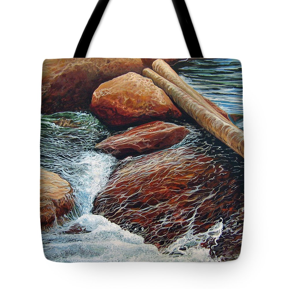 Stream Tote Bag featuring the painting The Crossing by Hunter Jay