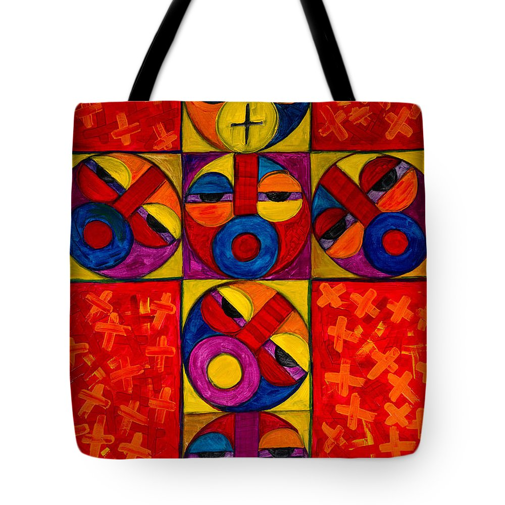 The Cross Tote Bag featuring the painting The Crucifix by Emeka Okoro