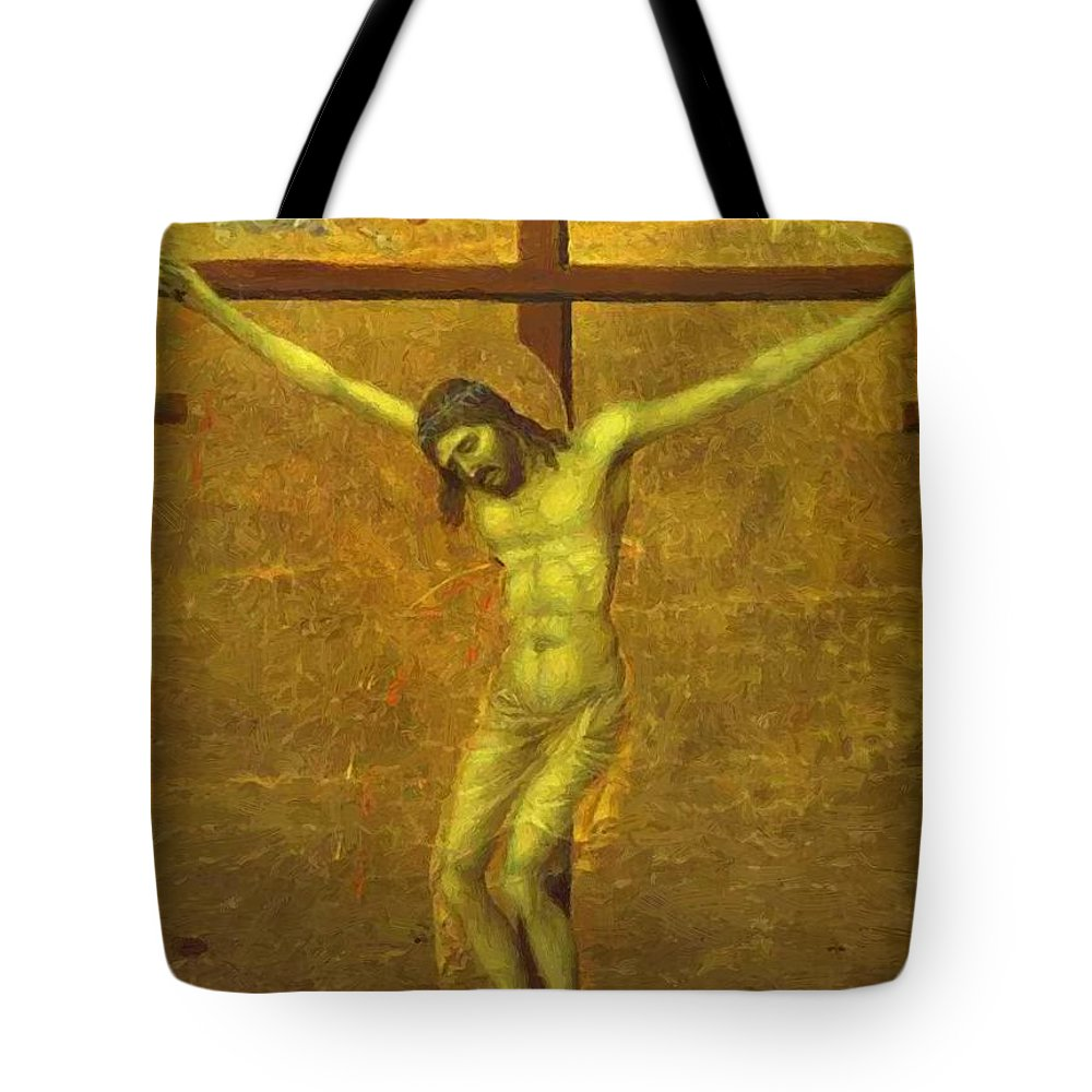 The Tote Bag featuring the painting The Crucifixion 1311 by Duccio