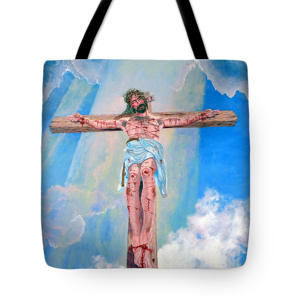 Christian Tote Bag featuring the painting The Crucifixion Daytime by Stan Hamilton