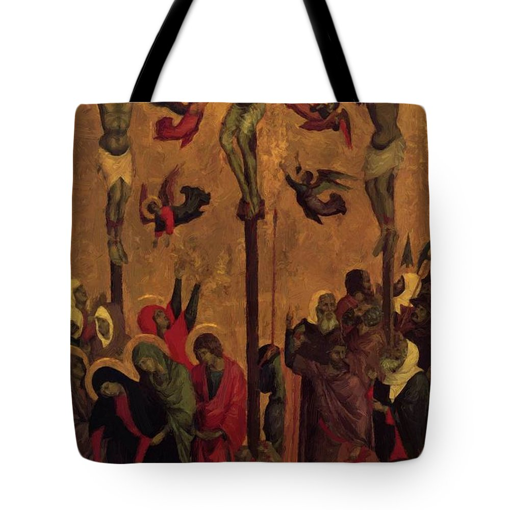 The Tote Bag featuring the painting The Crucifixion by Duccio