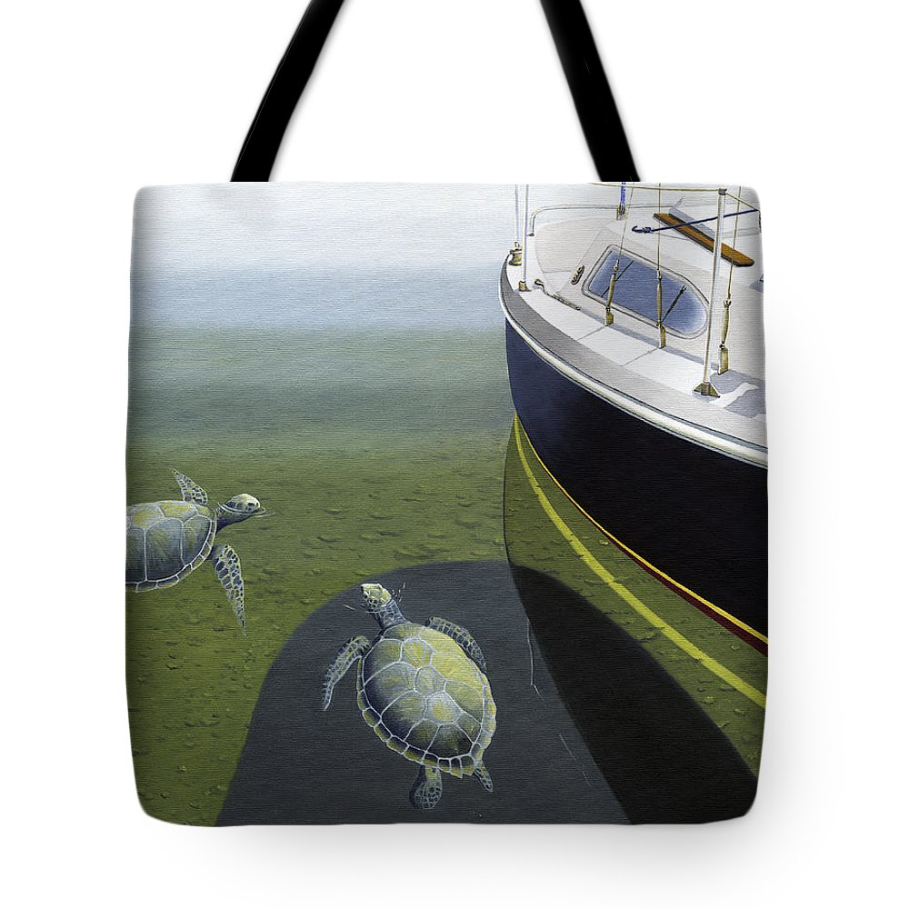 Sail Boat Tote Bag featuring the painting The Curiosity Of Sea Turtles by Gary Giacomelli