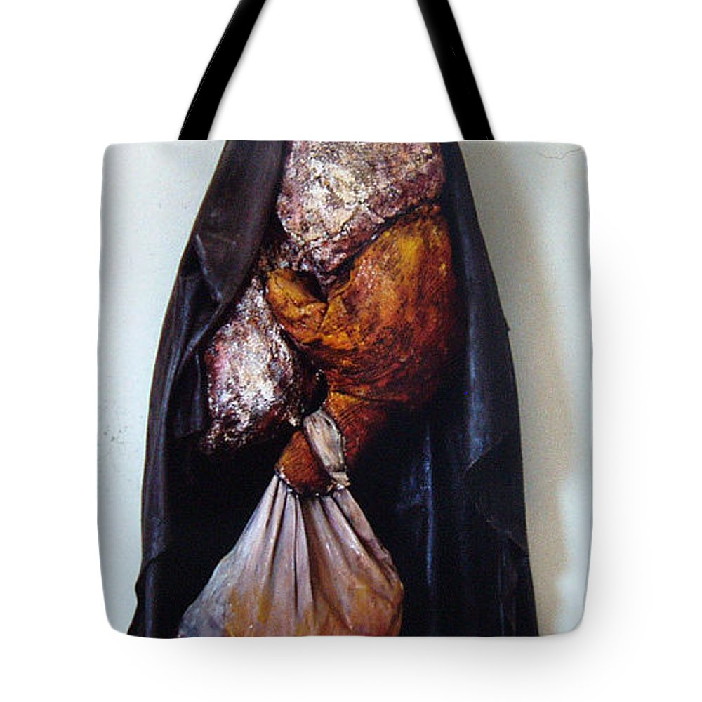Acrylic Tote Bag featuring the painting The Curtain by Nancy Mueller