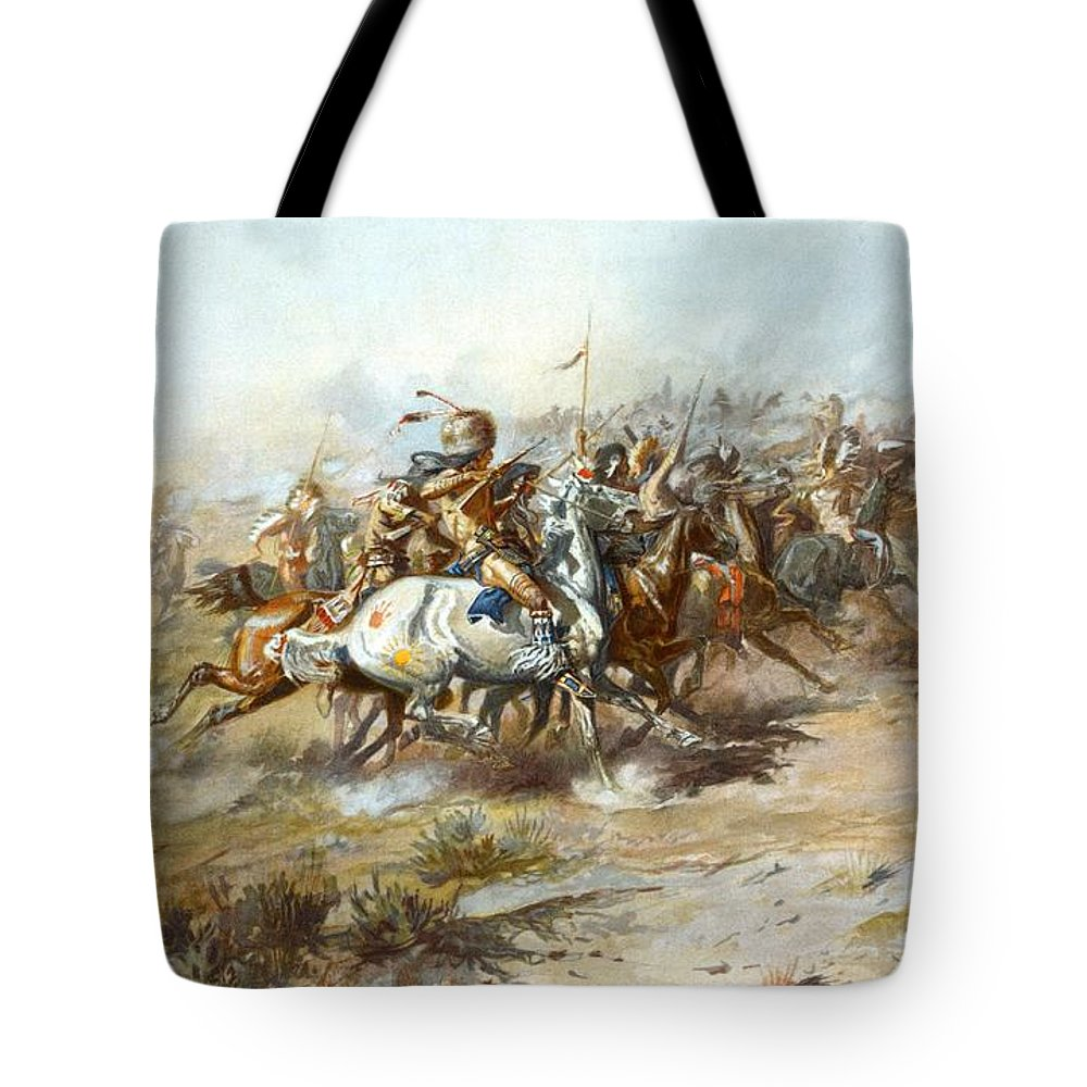Charles Russell Tote Bag featuring the digital art The Custer Fight by Charles Russell