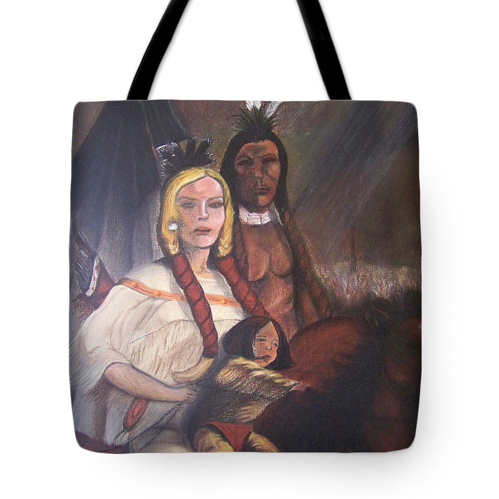 Artwork Tote Bag featuring the painting The Cynthia Ann Parker Family by Laurie Kidd
