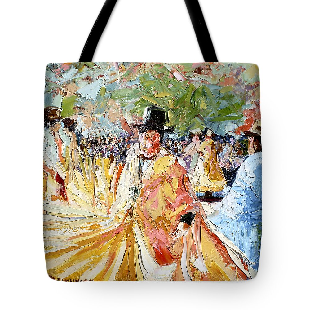 La Paz Tote Bag featuring the painting The Dance At La Paz by Lewis Bowman