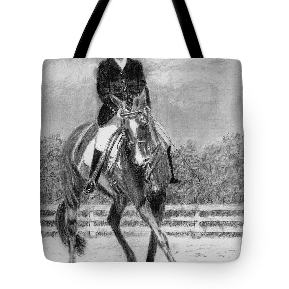 Woman Tote Bag featuring the drawing The Dance by Quwatha Valentine