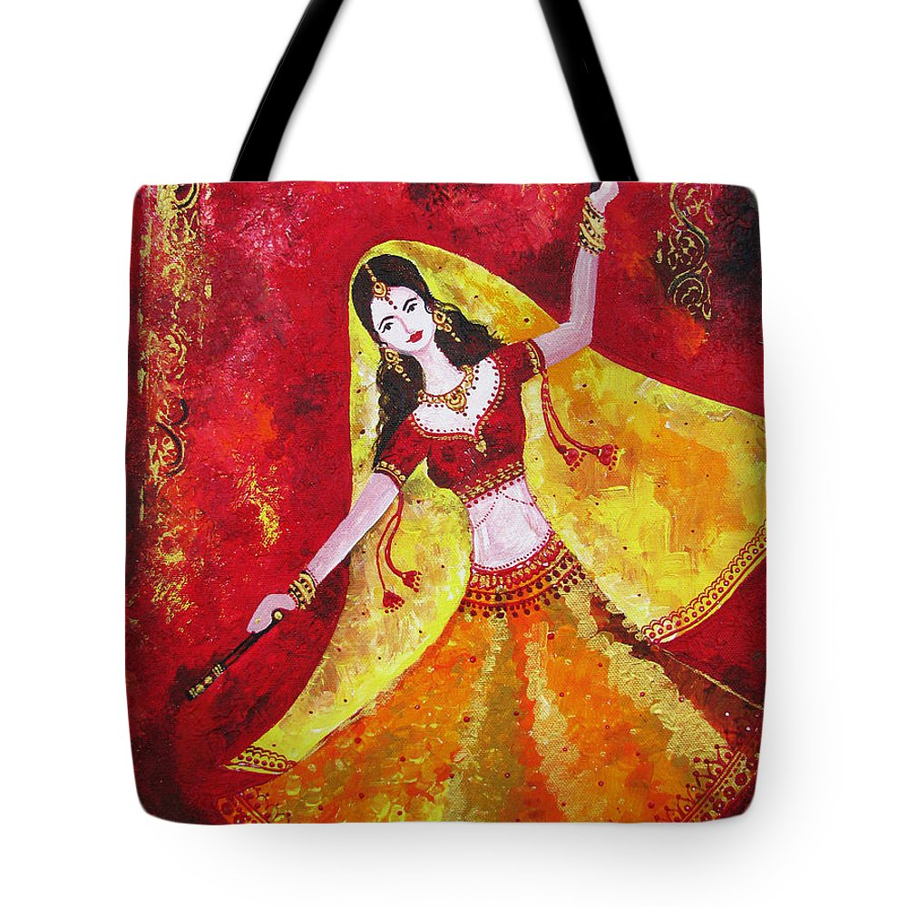 Dancer Tote Bag featuring the painting The Dancer by Prajakta P