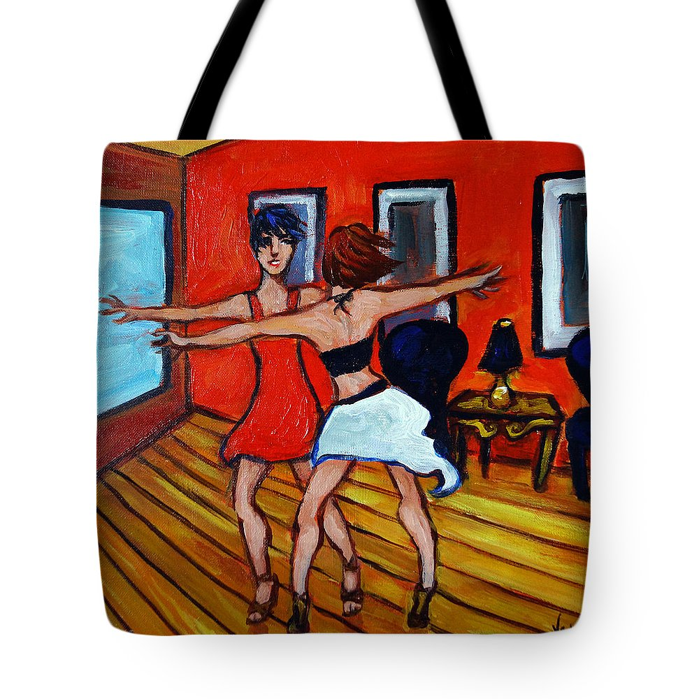 Dancers Tote Bag featuring the painting The Dancers by Valerie Vescovi