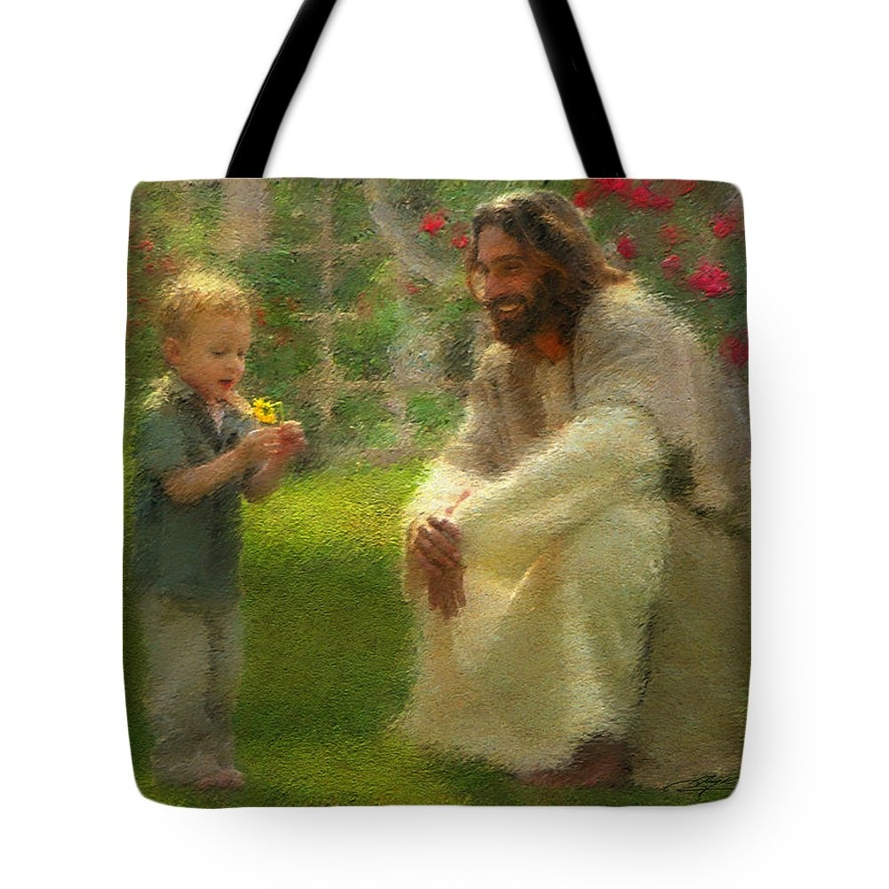 Jesus Tote Bag featuring the painting The Dandelion by Greg Olsen