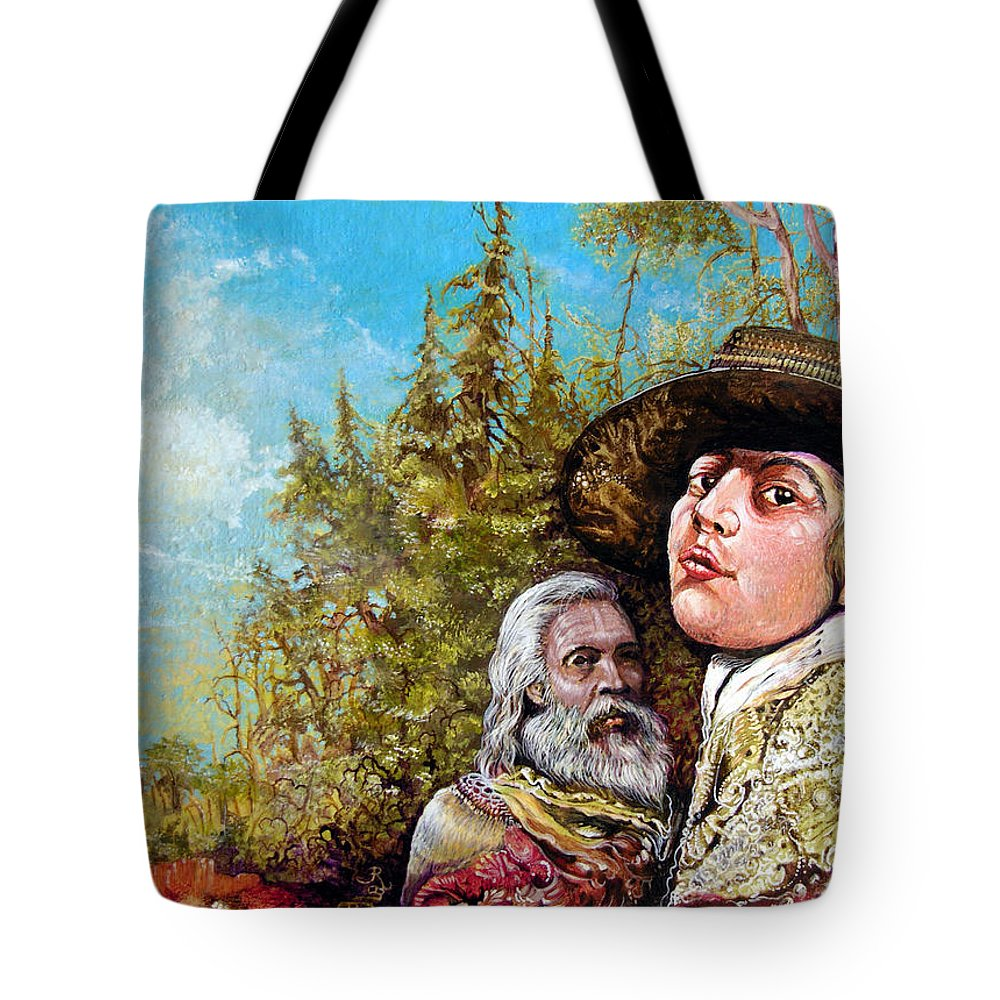 Surrealism Tote Bag featuring the painting The Dauphin And Captain Nemo Discovering Bogomils Island by Otto Rapp