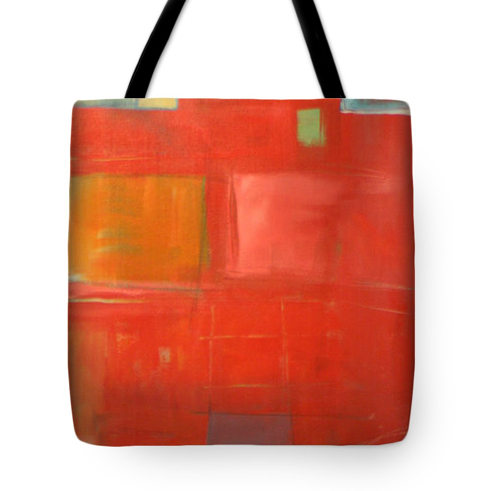 Red Tote Bag featuring the painting The Day Tim Russert Died by Tim Nyberg