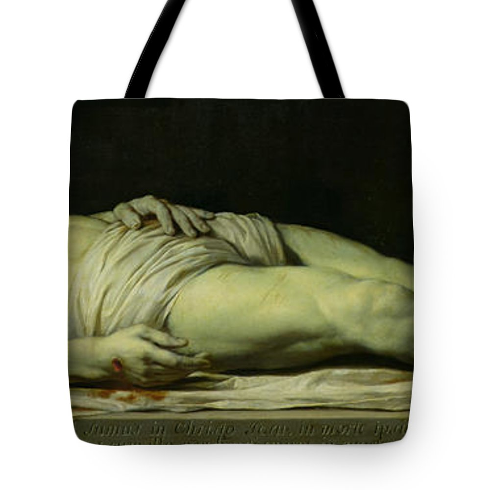 Jesus;death;body;corpse;crown Of Thorns;blood;wound Tote Bag featuring the painting The Dead Christ On His Shroud by Philippe de Champaigne