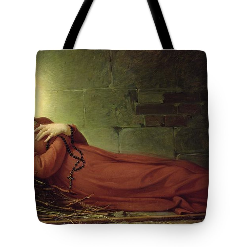 The Death Of Germaine Cousin (1579-1601) The Virgin Of Pibrac Tote Bag featuring the painting The Death Of Germaine Cousin The Virgin Of Pibrac by Alexandre Grellet