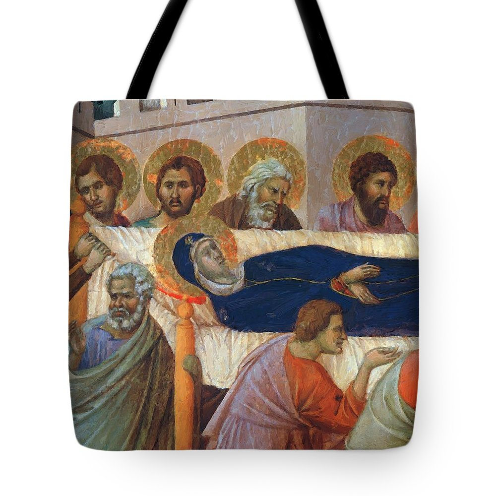 The Tote Bag featuring the painting The Death Of Mary Fragment 1311 by Duccio