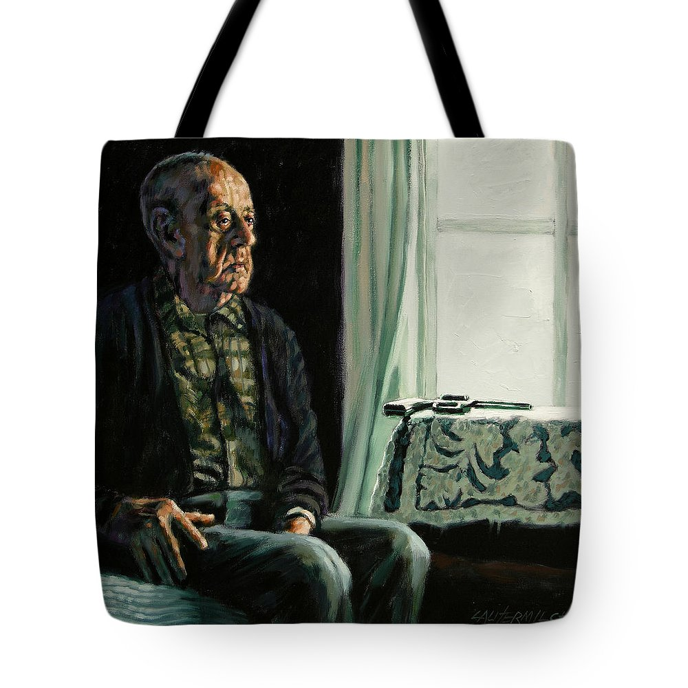 Depression Tote Bag featuring the painting The Decision by John Lautermilch