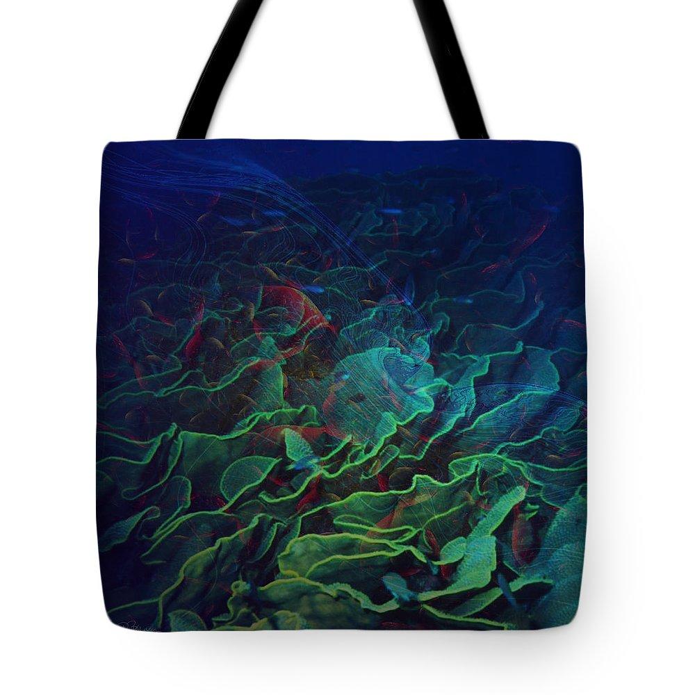 Ocean Tote Bag featuring the digital art The Deep by Barbara Berney