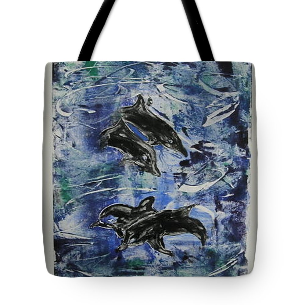 Monotype Tote Bag featuring the mixed media The Deep Sea by Cori Solomon