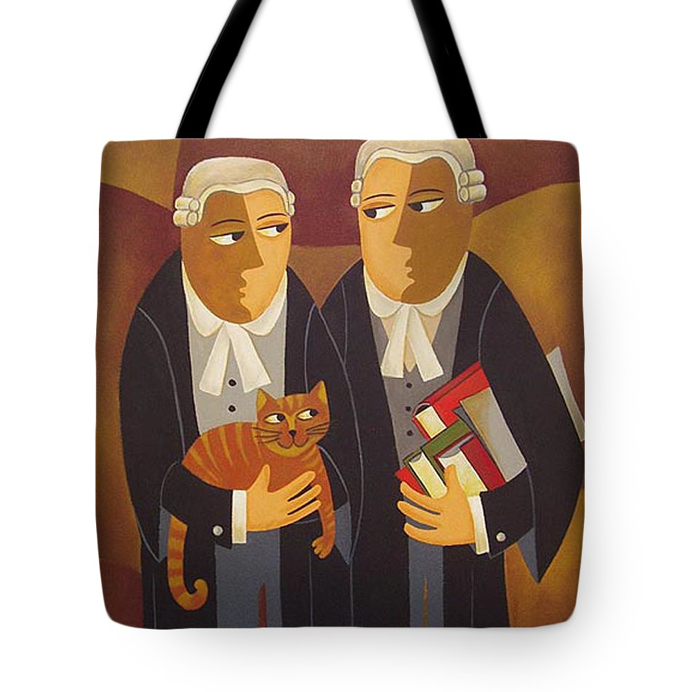 Lawyers Tote Bag featuring the painting The Defendant by Thomas Andersen