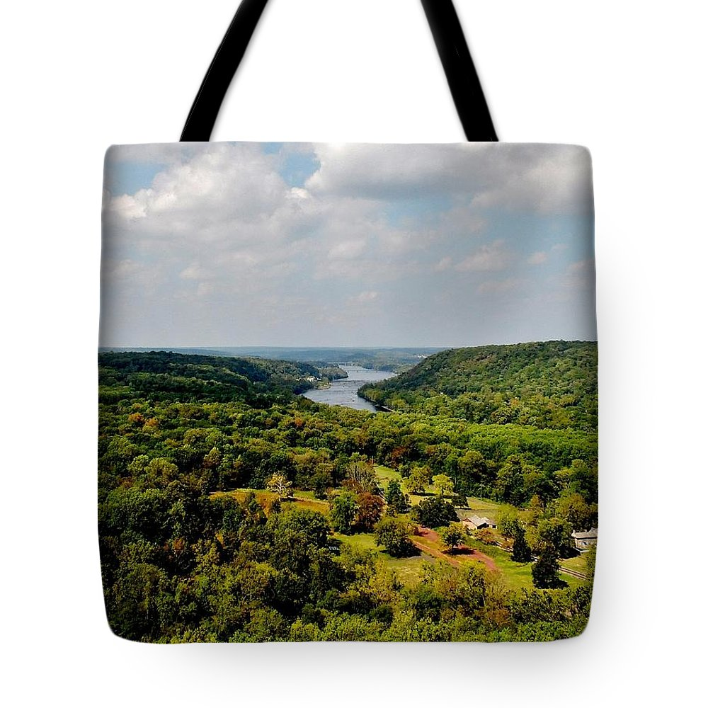 The Delaware River Valley Tote Bag featuring the digital art The Delaware River Valley by Val Arie